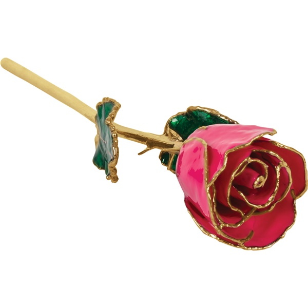 24k Yellow Gold Dipped Magenta Rose