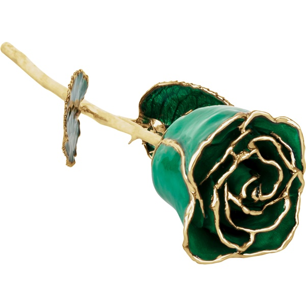 24k Yellow Gold Dipped Emerald Rose