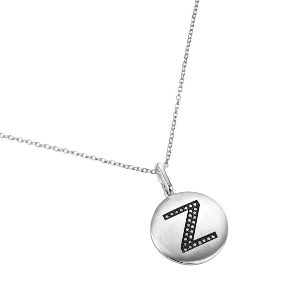 14K White Gold and Black Diamond Z Initial Pendant