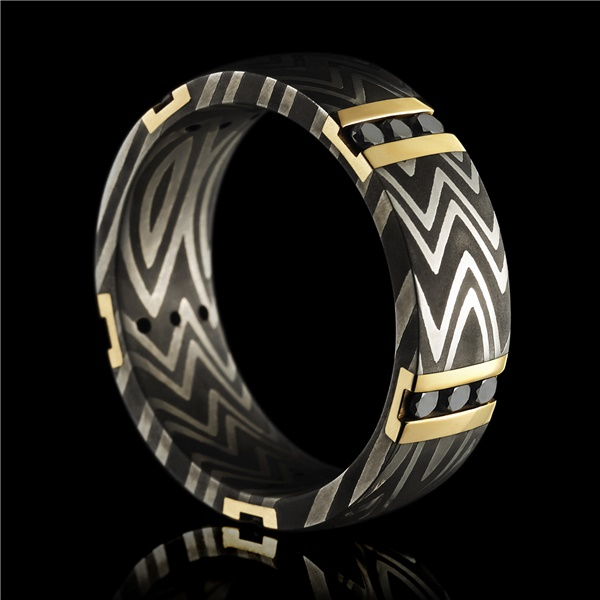 Damascus Ring With Zebra Pattern 14K Gold & Black Diamonds by Lashbrook