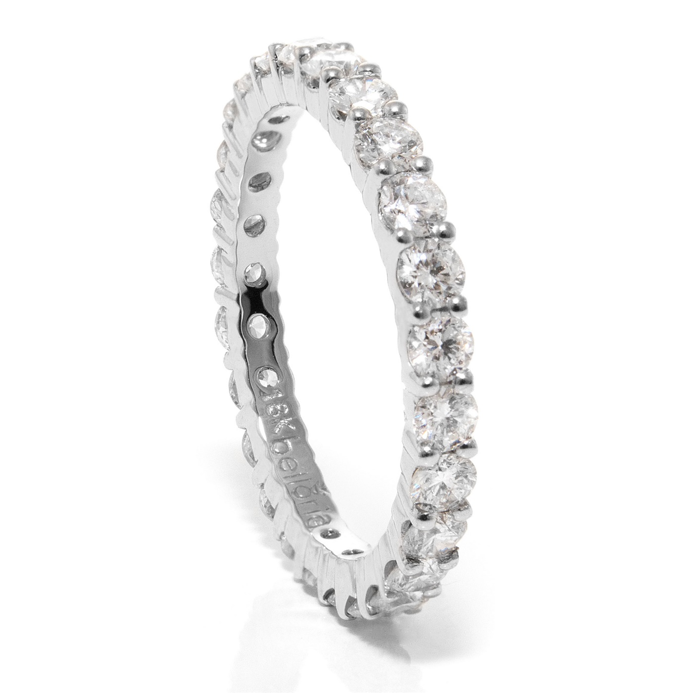 Ladies 18k White Gold Eternity Diamond Wedding Band Rings
