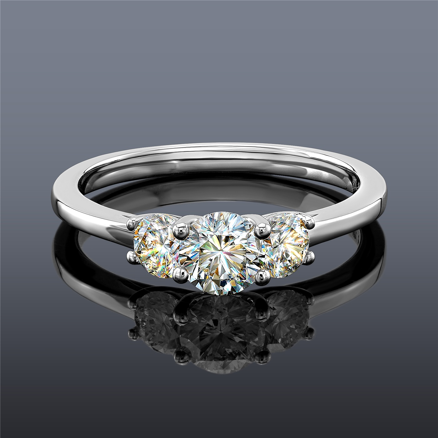 Engagement Rings No Stone: Fire Polish Diamond 3 Stone Ring In 14K White Gold, 1