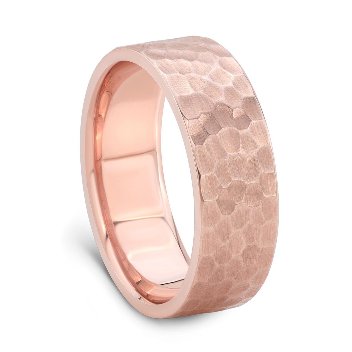 Mens Rose Gold Wedding Band.Hammered Finish Rose Gold Wedding Band For Men 7mm Wide Rose Gold Ring