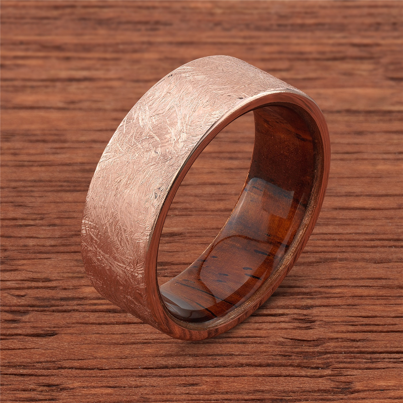 10k Distressed Rose Gold with Natcoco Wood Sleeve Mens Wedding Band by  Lashbrook Designs