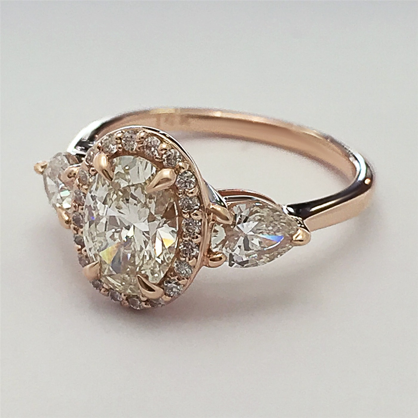 Engagement Rings No Stone: Oval Shaped Diamond Engagement Ring With Pear Shaped