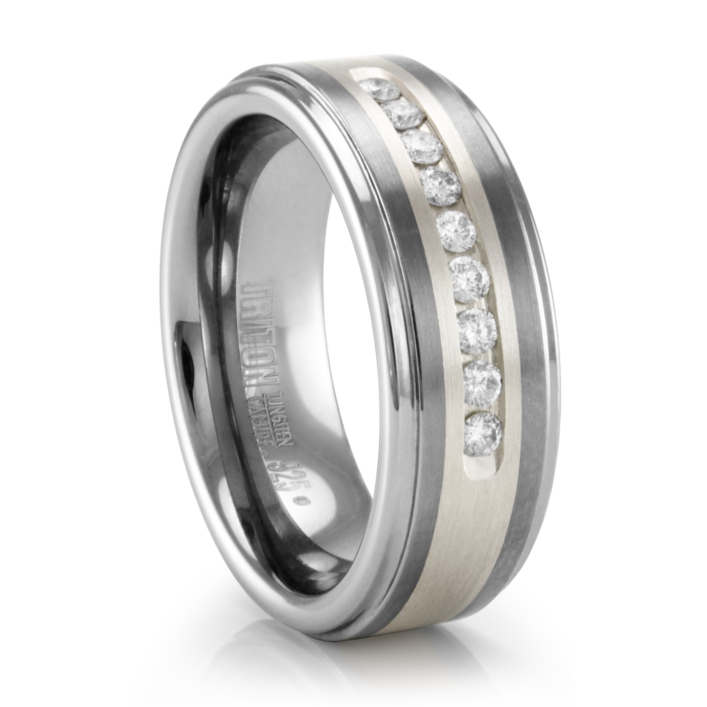 It is a picture of Triton COVINGTON Tungsten Ring with Channel Set Diamonds