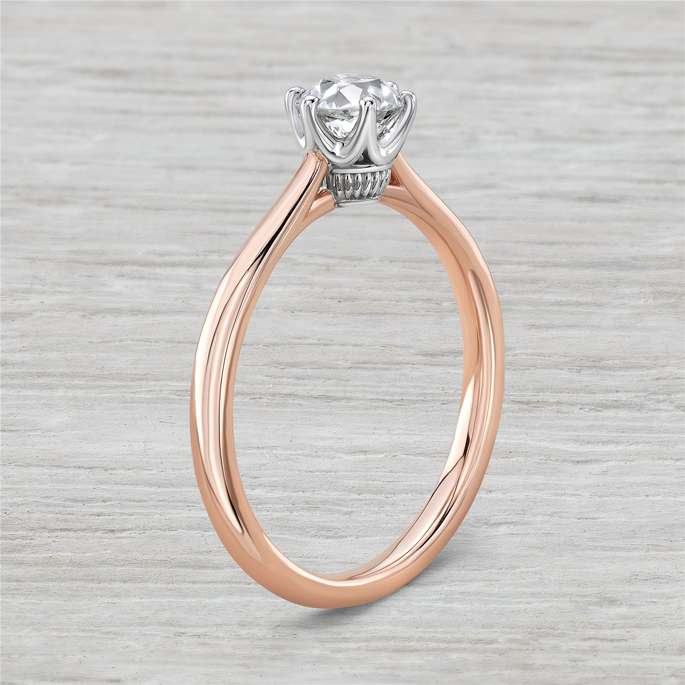 14K Rose Gold Vintage Inspired Engagement Ring With .63ct